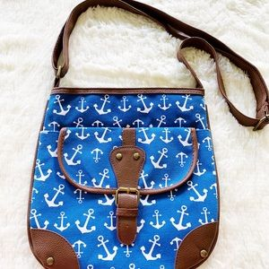 Handbags - Blue and white anchor print crossbody purse